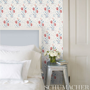 Schumacher Khilana Floral Wallpaper 5009952 / Peacock