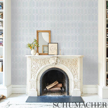 Load image into Gallery viewer, Schumacher Modern Trellis Sisal Wallpaper 5010100 / Sky