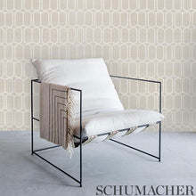Load image into Gallery viewer, Schumacher Modern Trellis Shimmer Wallpaper 5010110 / Moonstone