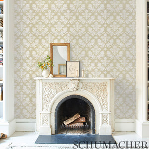 Schumacher Regalia Sisal Wallpaper 5010531 / Ivory On Natural