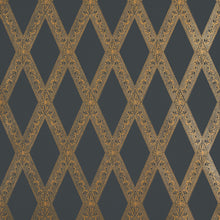 Load image into Gallery viewer, Schumacher Les Losanges Toile Wallpaper 5011362 / Gold On Black
