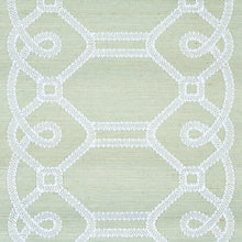 Load image into Gallery viewer, Schumacher Ziz Embroidered Sisal Wallpaper 5011472 / Mineral