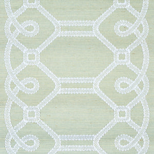 Schumacher Ziz Embroidered Sisal Wallpaper 5011472 / Mineral