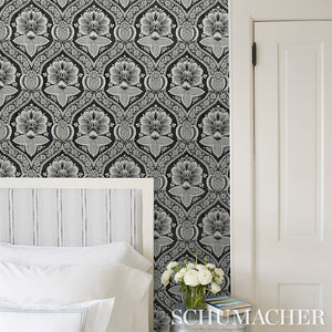 Schumacher Villandry Damask Print Wallpaper 5011750 / Blue