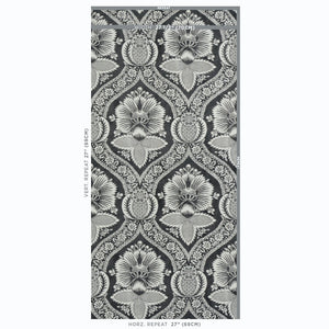 Schumacher Villandry Damask Print Wallpaper 5011752 / Black