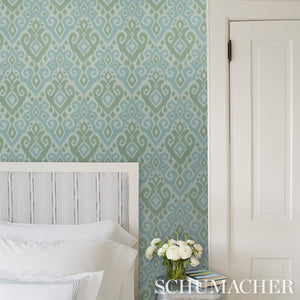 Schumacher Dedra Damask Wallpaper 5011760 / Mineral & Leaf