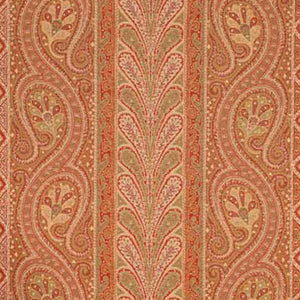 SCHUMACHER CHATELAINE PAISLEY FABRIC 50771 / RED/MOSS