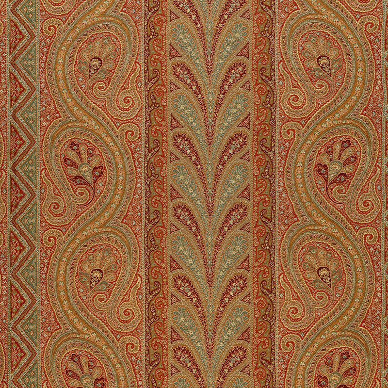 SCHUMACHER CHATELAINE PAISLEY FABRIC 50773 / TUSCAN