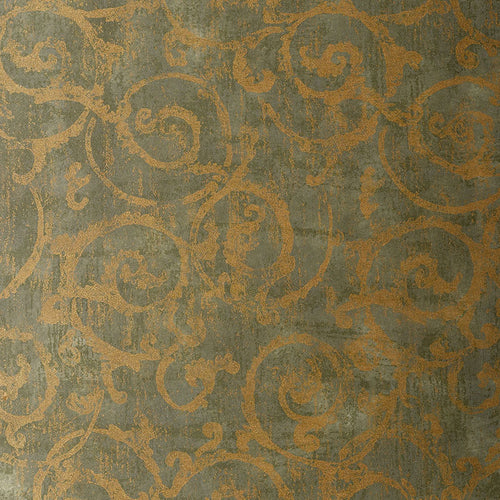 Schumacher Bernini Scroll Wallpaper 528172 / Mist