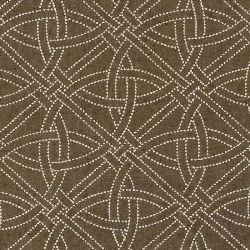 SCHUMACHER DURANCE EMBROIDERY FABRIC 55691 / TRUFFLE