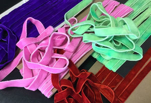 "5/8"" (16 mm) Double Faced Velvet Ribbon / Green / Purple/ Pink / Rusty Red"