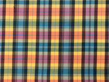 Load image into Gallery viewer, Richloom Lisetta Peacock Bird Cotton Designer Tartan Plaid Teal Navy Blue Green Yellow Orange Purple Upholstery Drapery Fabric