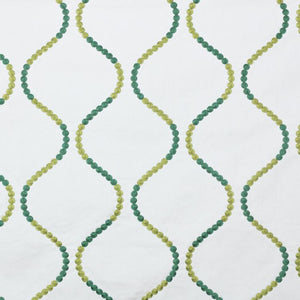 Button Trellis White with Green Cotton Drapery Fabric / Minthe