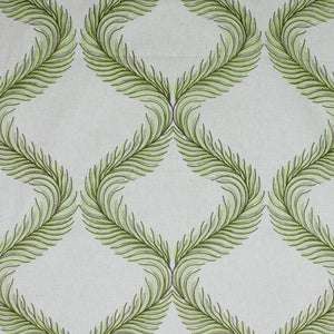 Nom de Plume Olive Green Embroidered Feather Drapery Fabric / Olive