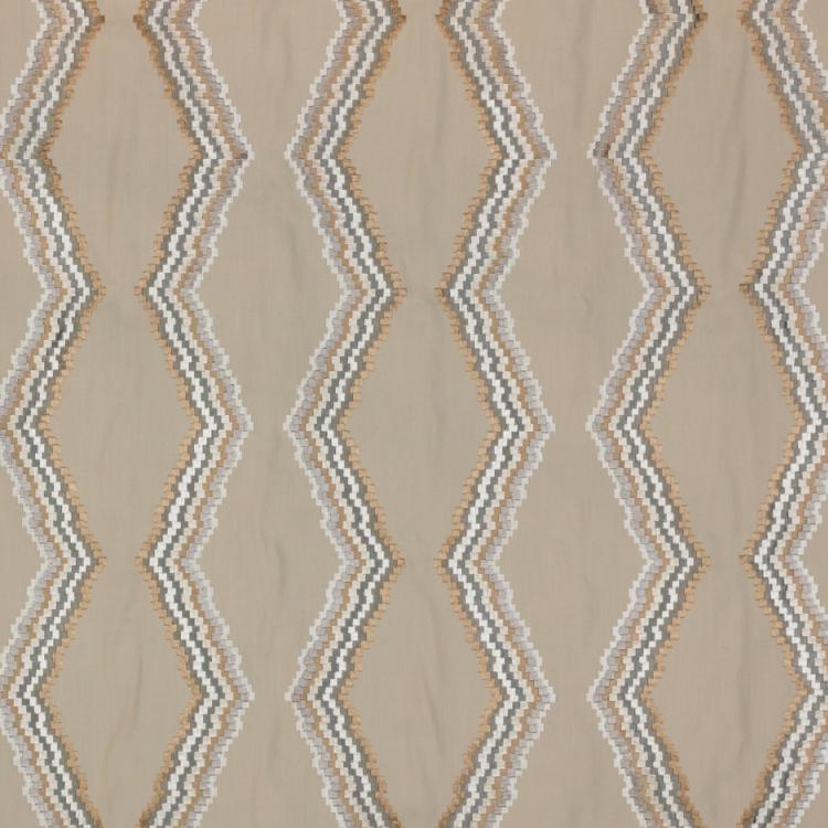 Tiberon Stripe Beige Gray Cream Geometric Embroidered Drapery Fabric / Sandstone