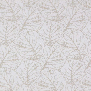 Tree House Taupe White Botanical Abstract Leaf Drapery Fabric / Mushroom
