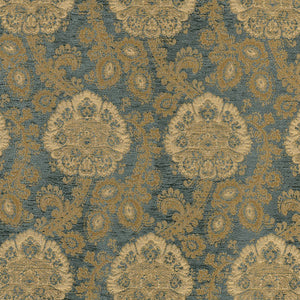 SCHUMACHER SANDERLING PAISLEY FABRIC 62161 / AEGEAN