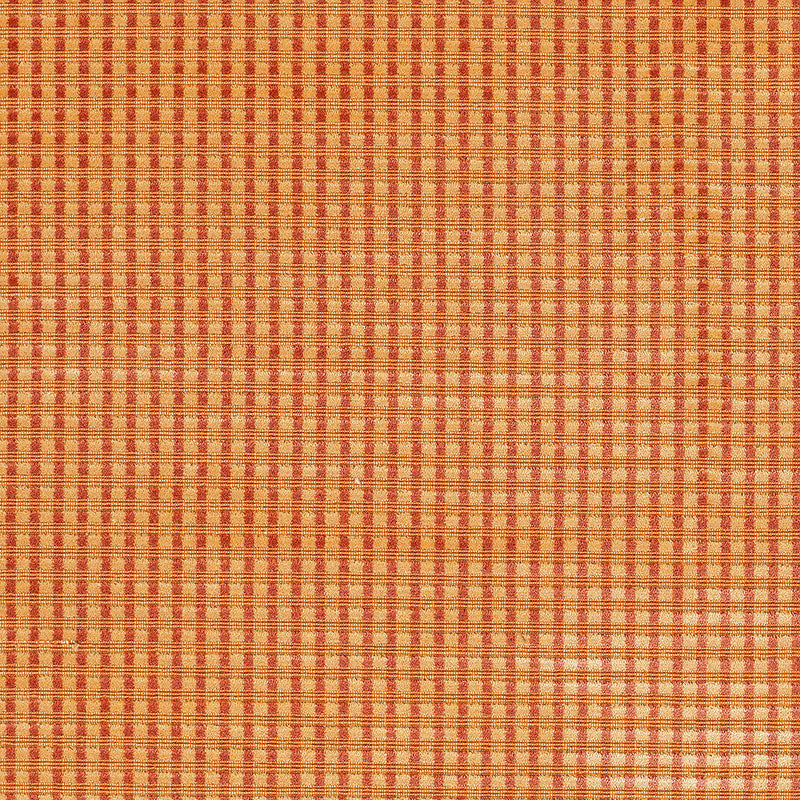SCHUMACHER TRIANON VELVET CHECK FABRIC 62590 / TERRACOTTA
