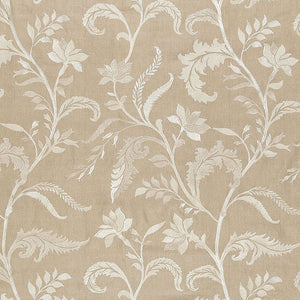 SCHUMACHER MONCEAU LINEN EMBROIDERY FABRIC 65131 / GREIGE
