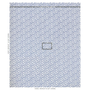 SCHUMACHER MEANDER EMBROIDERY FABRIC 67603 / BLUE ON IVORY