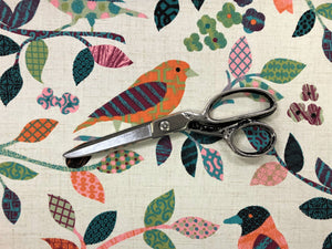 Cotton Aviary Parchment Bird Print Teal Coral Orange Green Beige Pink Magenta Upholstery Drapery Fabric