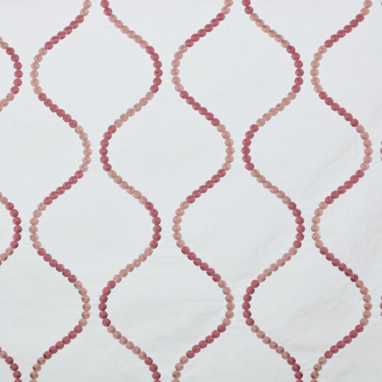 Button Trellis White with Pink Embroidered Drapery Fabric / Rose Quartz