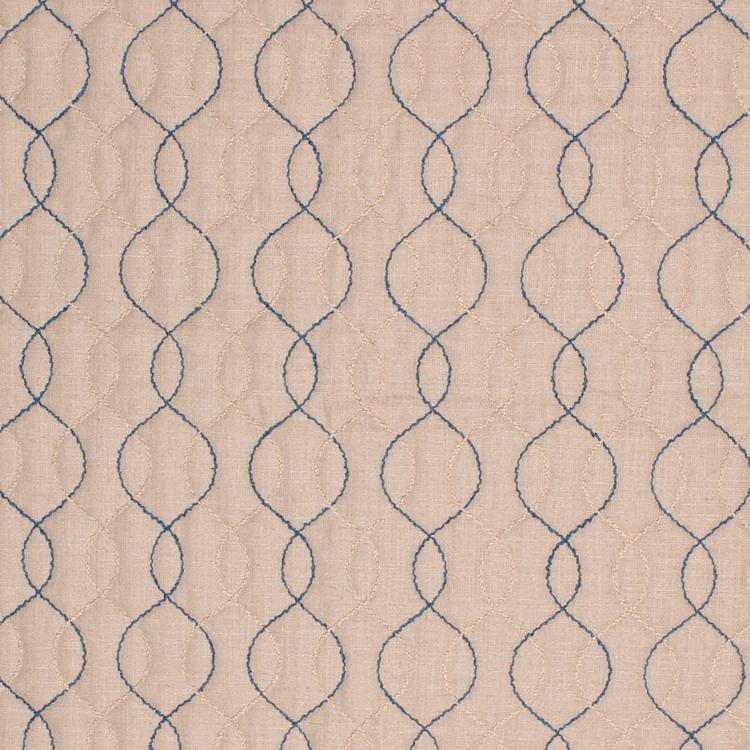 Stitch in Time Beige Blue Embroidered Trellis Drapery Fabric / Lazuli