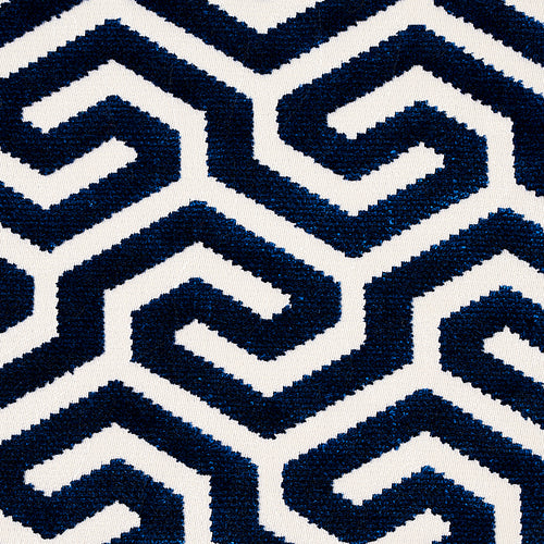 SCHUMACHER MING FRET VELVET FABRIC 73106 / NAVY