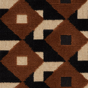 SCHUMACHER DAZZLE SHIP VELVET FABRIC 77242 / BROWN & BLACK