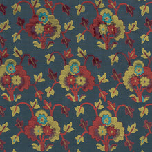 Load image into Gallery viewer, SCHUMACHER JENNIE VELVET FABRIC 77741 / BLUE & RED
