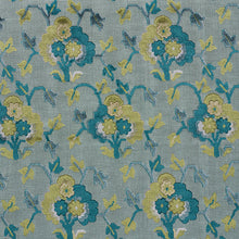 Load image into Gallery viewer, SCHUMACHER JENNIE VELVET FABRIC 77742 / PEACOCK & CELADON