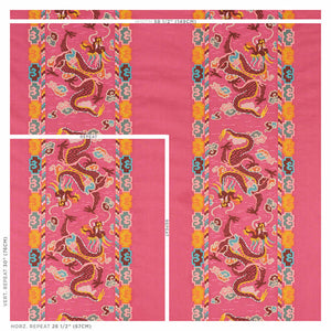 SCHUMACHER LOTAN DRAGON EMBROIDERY FABRIC 78092 / PINK