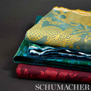 SCHUMACHER RUAN DRAGON DAMASK FABRIC 78100 / EMERALD