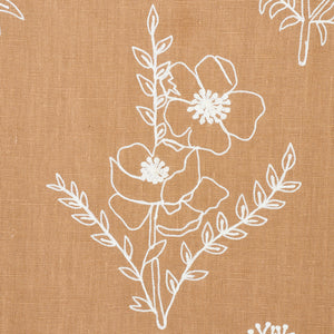 SCHUMACHER LISBETH EMBROIDERY FABRIC 78361 / CAMEL