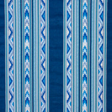 Load image into Gallery viewer, SCHUMACHER ZARZUELA STRIPE EMBROIDERY FABRIC 78390 / INDIGO