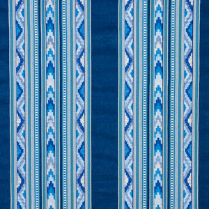 SCHUMACHER ZARZUELA STRIPE EMBROIDERY FABRIC 78390 / INDIGO