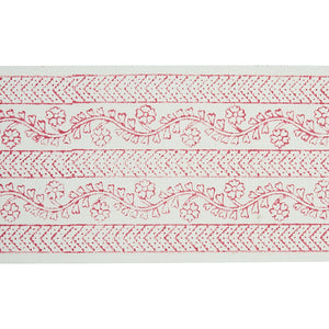 Schumacher Arbela Hand Blocked Tape Trim 78442 / Pink