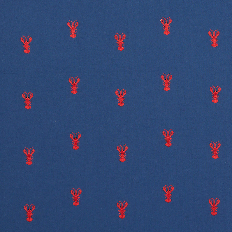 SCHUMACHER LOBSTER EMBROIDERY FABRIC 78800 / NAVY