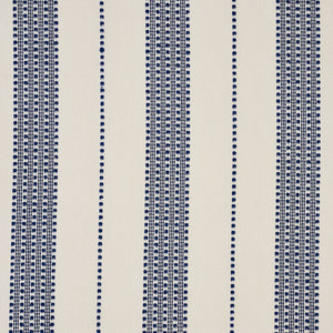 SCHUMACHER LUBECK STRIPE FABRIC 79090 / NAVY