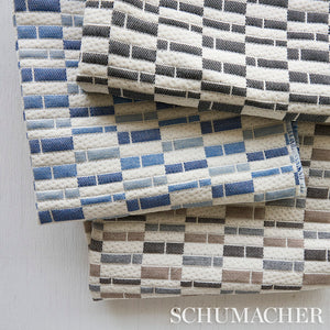 SCHUMACHER ASHCROFT INDOOR/OUTDOOR FABRIC 79160 / BLUE