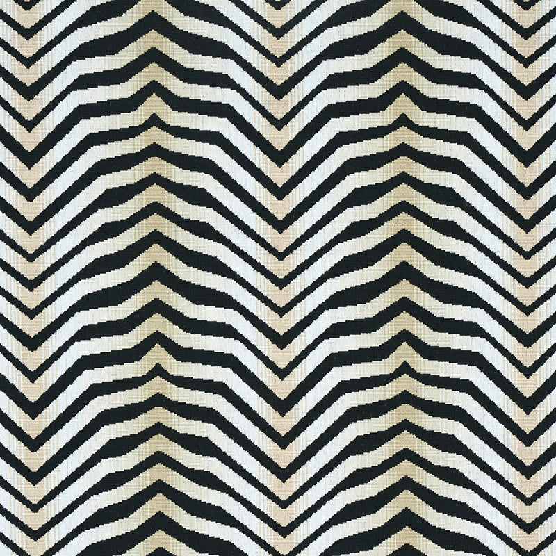Schumacher Arcure Epingle Fabric 79521 / Zebra Black
