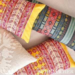 Schumacher Vinka Embroidery Fabric 79622 / Pink & Yellow
