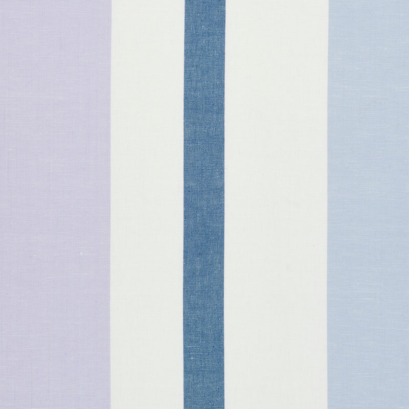 SCHUMACHER LOLLAND LINEN STRIPE FABRIC 79661 / LILAC & BLUE