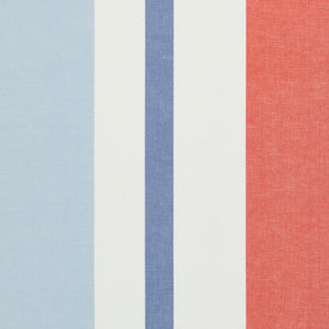 SCHUMACHER LOLLAND LINEN STRIPE FABRIC 79662 / SKY & CORAL