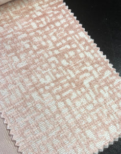 2 Colorways Abstract Geometric Velvet Upholstery Fabric Blush Cream Gray