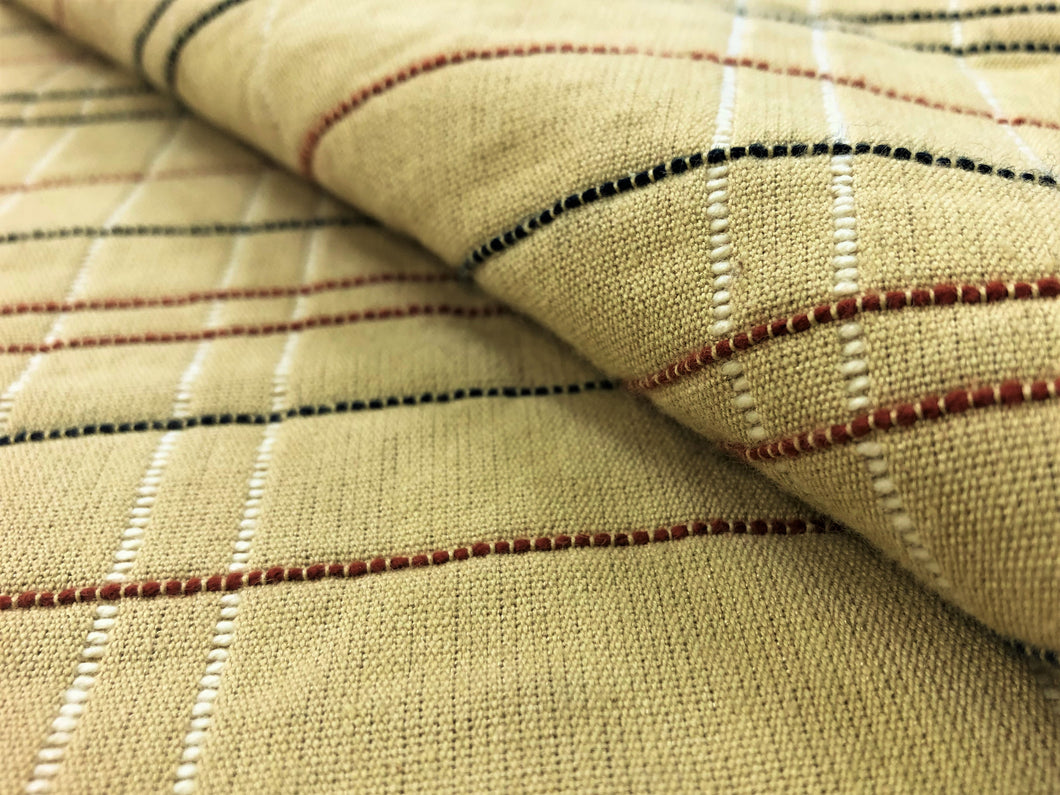 Designer Woven Water & Stain Resistant Beige Rusty Red Black Ivory Stripe Plaid Check Geometric Upholstery Drapery Fabric
