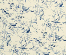 Load image into Gallery viewer, Floral Bird Print Toile Drapery Fabric / Indigo