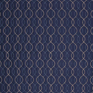 Stitch in Time Navy Blue Beige Embroidered Trellis Drapery Fabric / Indigo