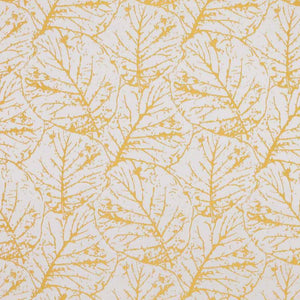 Tree House Gold White Botanical Abstract Leaf Drapery Fabric / Forsythia