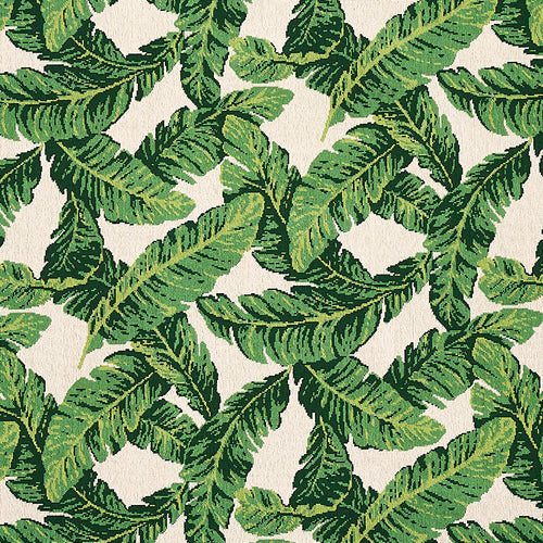 Schumacher Tropical Leaf Epingle Fabric 80090 / Green & Ivory